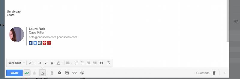 Firma en email con wisestamp