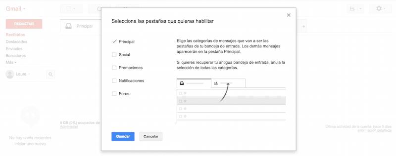 Pasos para configurar las bandejas en Gmail