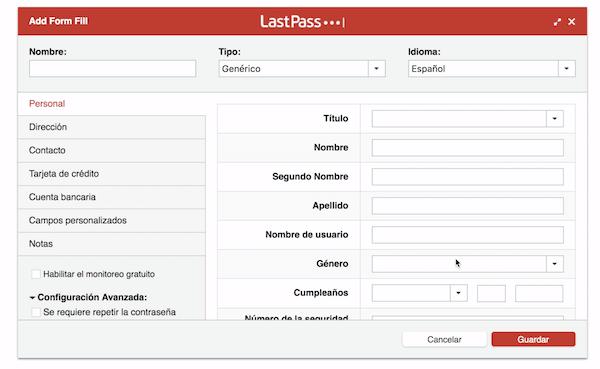 Cómo crear formularios en Last Pass